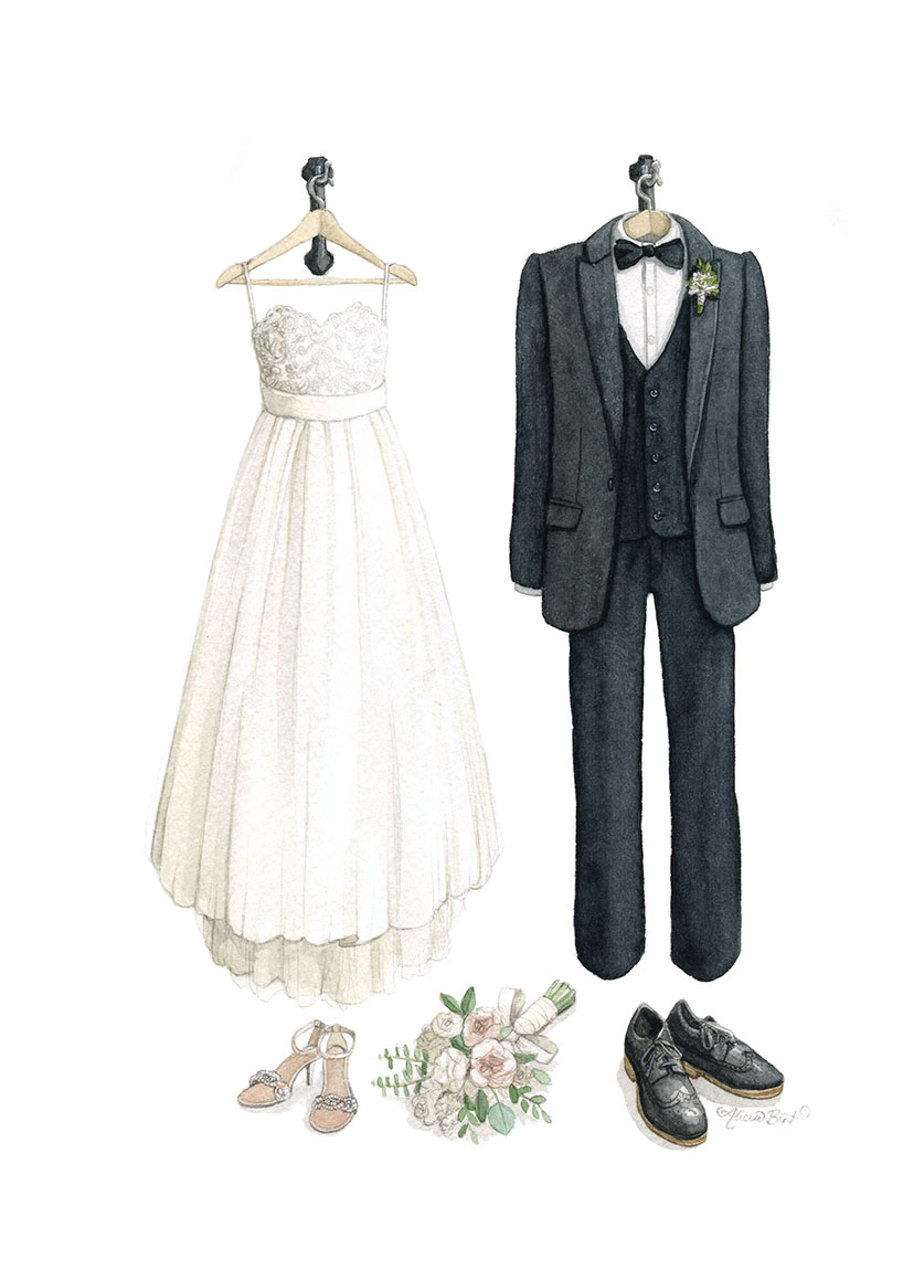 Custom Wedding Fashion Watercolour Illustration by Alicia's Infinity - www.aliciasinfinity.com