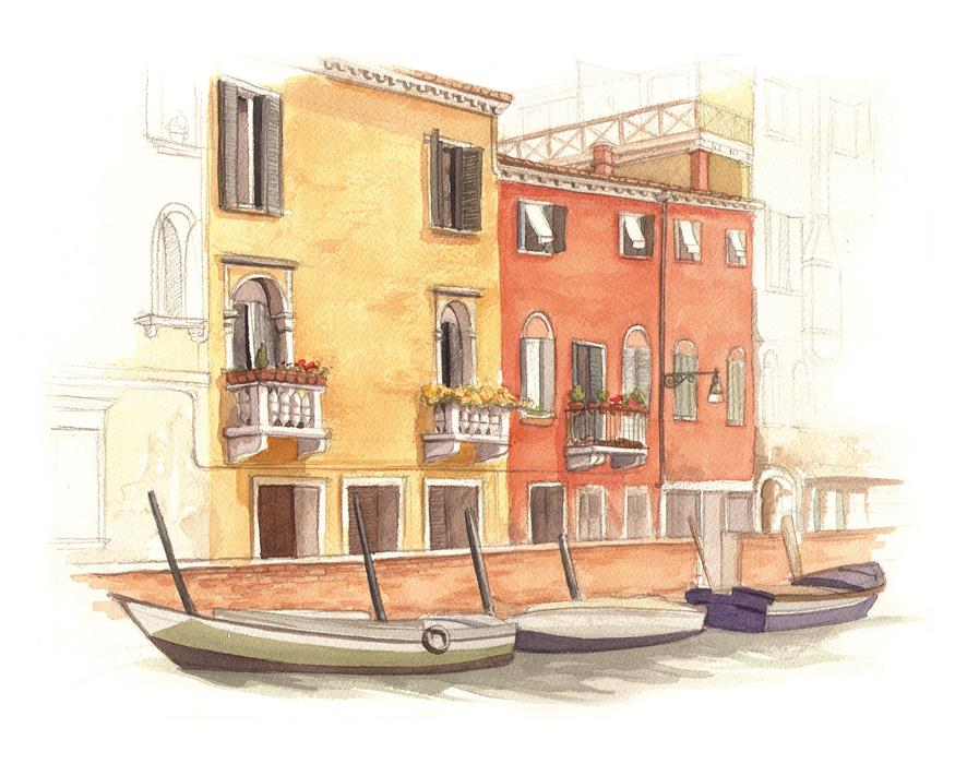 Venice, Italy Canal Watercolour Illustration by Alicia's Infinity - www.aliciasinfinity.com