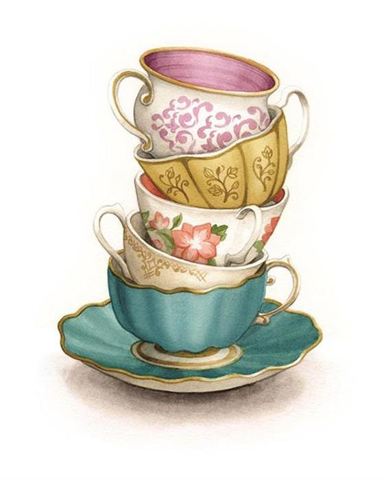 Stacked vintage teacups Watercolour Illustration by Alicia's Infinity - www.aliciasinfinity.com