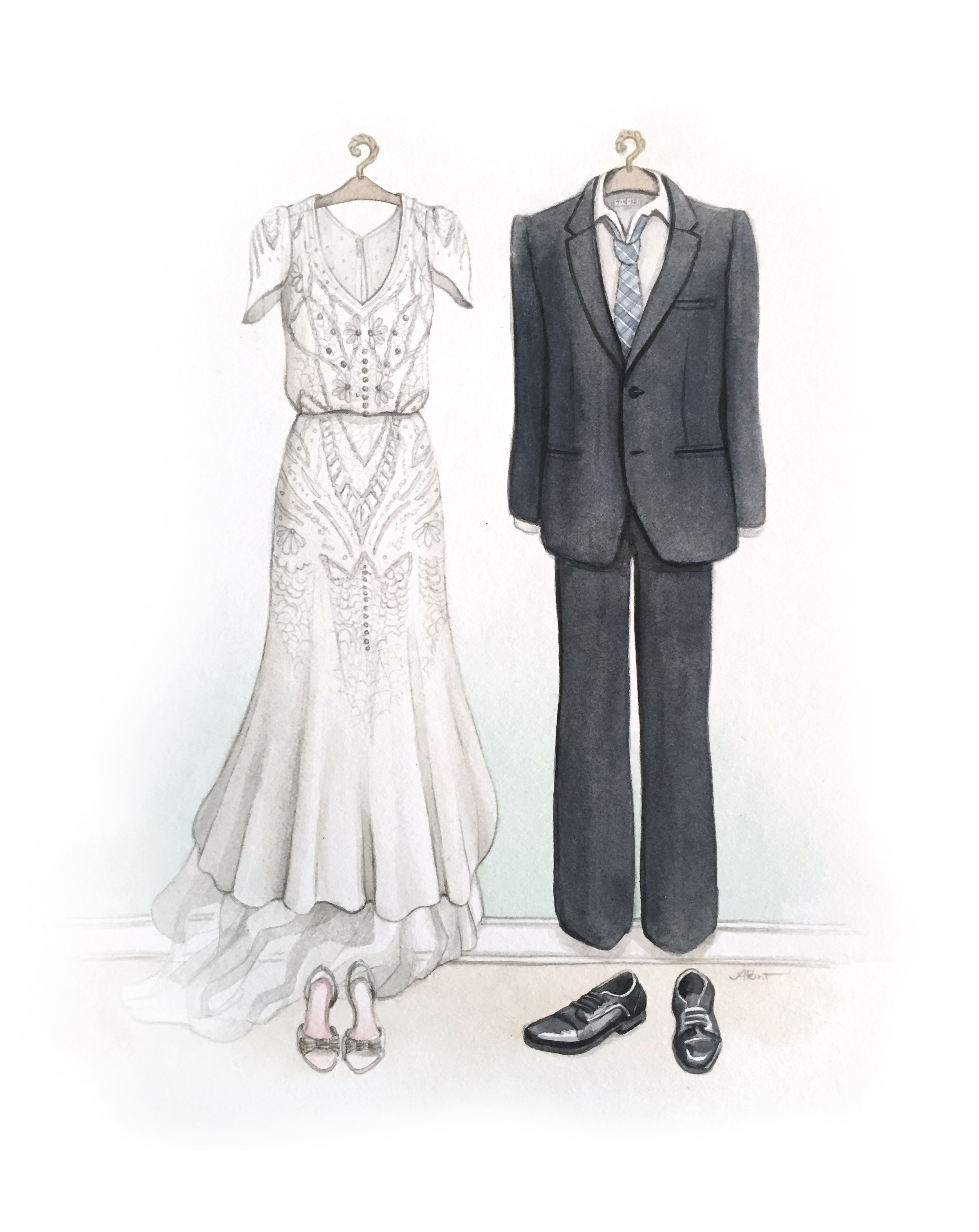 Custom Wedding Dress and Suit Watercolour Illustration by Alicia's Infinity - www.aliciasinfinity.com