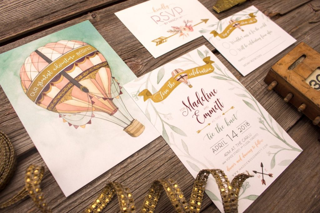 Wanderlust Hot Air Balloon Wedding Invitations by Alicia's Infinity - www.aliciasinfinity.com