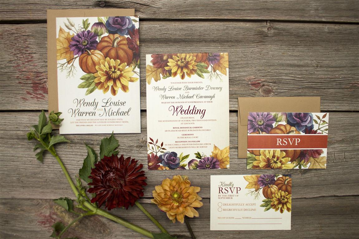 Autumn Leaves and Fall Floral Wedding Invitations by Alicia's Infinity - www.aliciasinfinity.com