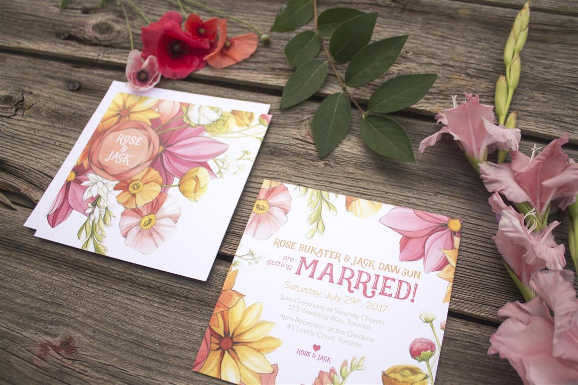 Bright Citrus and Coral Floral Wedding Invitations and Stationery by Alicia's Infinity - www.aliciasinfinity.com