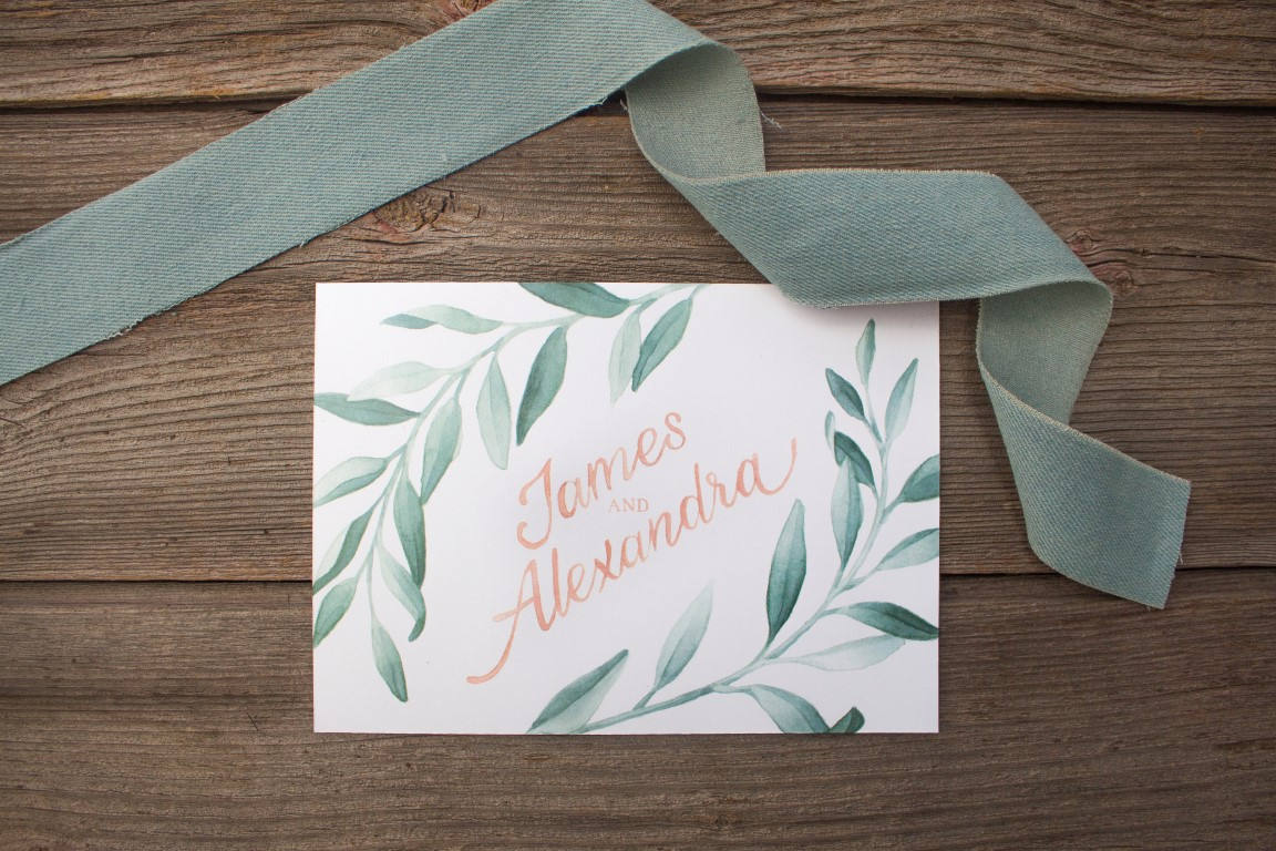 Grey Greenery Garland Vine Watercolour Wedding Invitations and Stationery by Alicia's Infinity - www.aliciasinfinity.com
