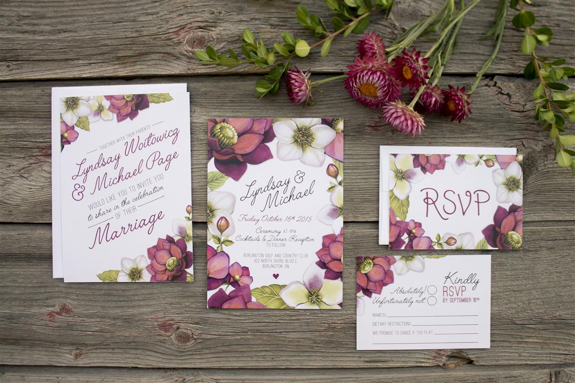 Marsala Floral Watercolour Wedding Invitations and Stationery by Alicia's Infinity - www.aliciasinfinity.com