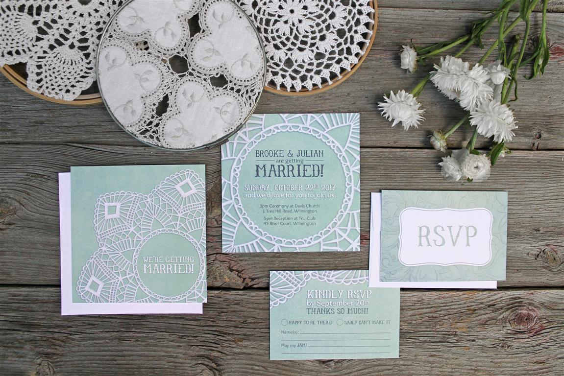 Mint Green painted Vintage Lace Wedding Invitations and Stationery by Alicia's Infinity - www.aliciasinfinity.com