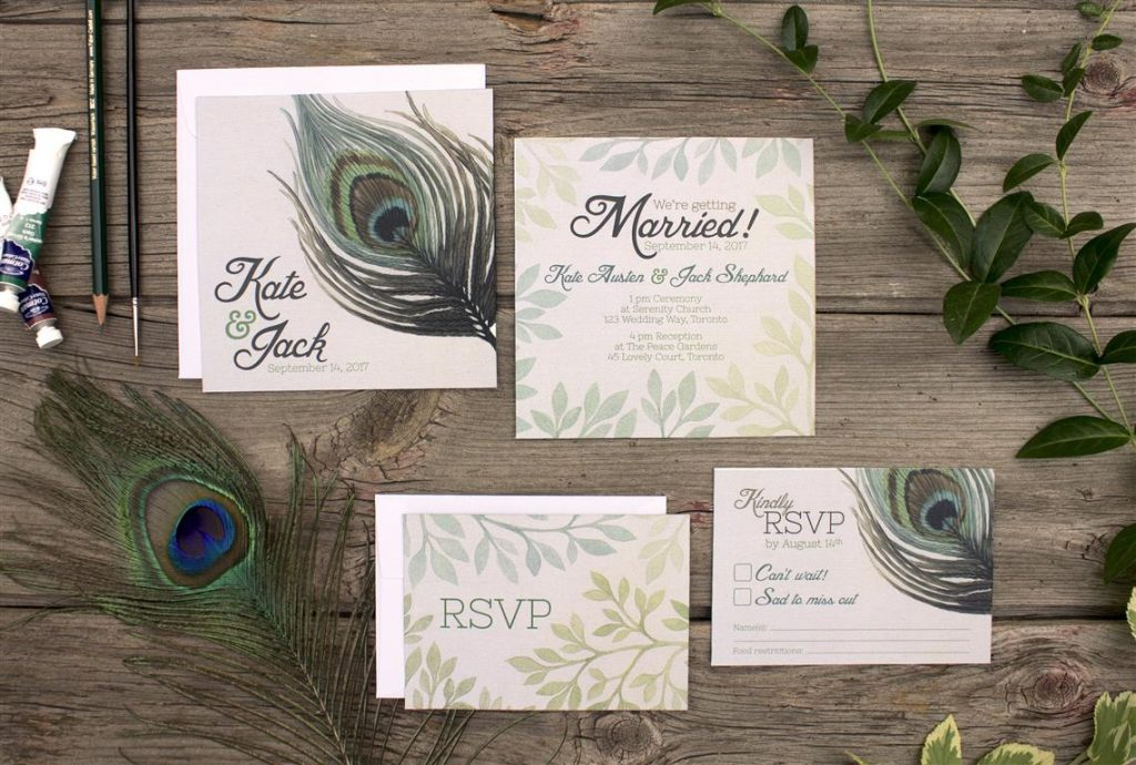 Watercolour Painted Peacock Feather Wedding Invitations and Stationery by Alicia's Infinity - www.aliciasinfinity.com