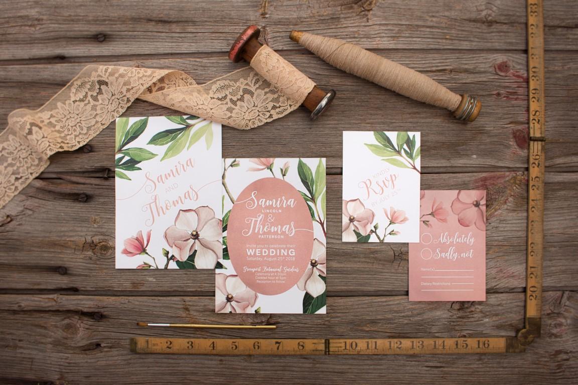 Blush Magnolia Botanical Illustration