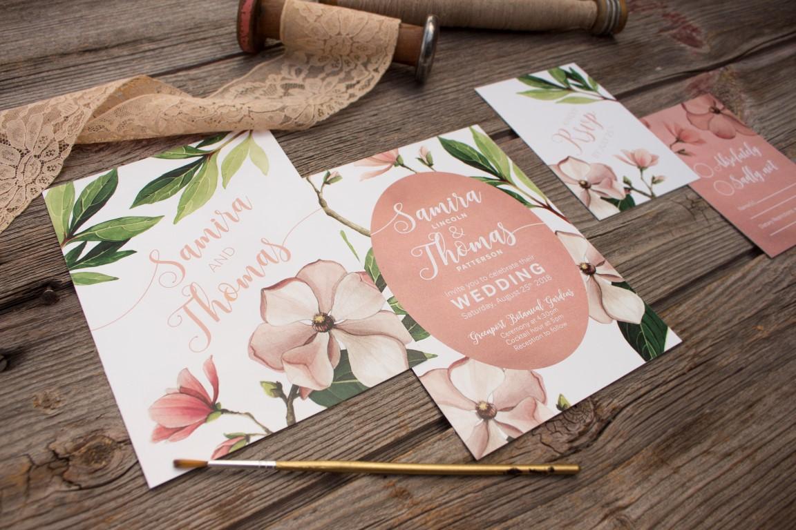 Blush Magnolia Botanical Illustration - Wedding Invitations and Stationery by Alicia's Infinity - www.aliciasinfinity.com
