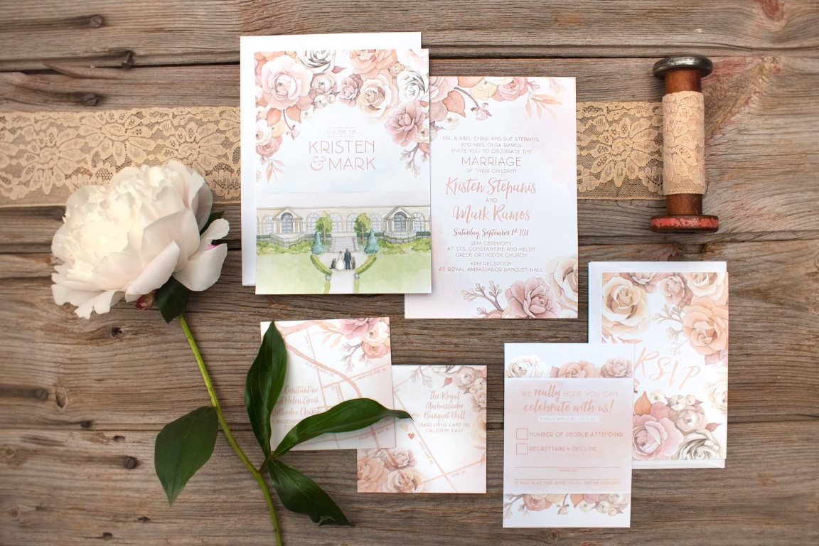 Rose Botanical with Custom Watercolour Venue Painting - Watercolour Wedding Invitations and Stationery by Alicia's Infinity - www.aliciasinfinity.com