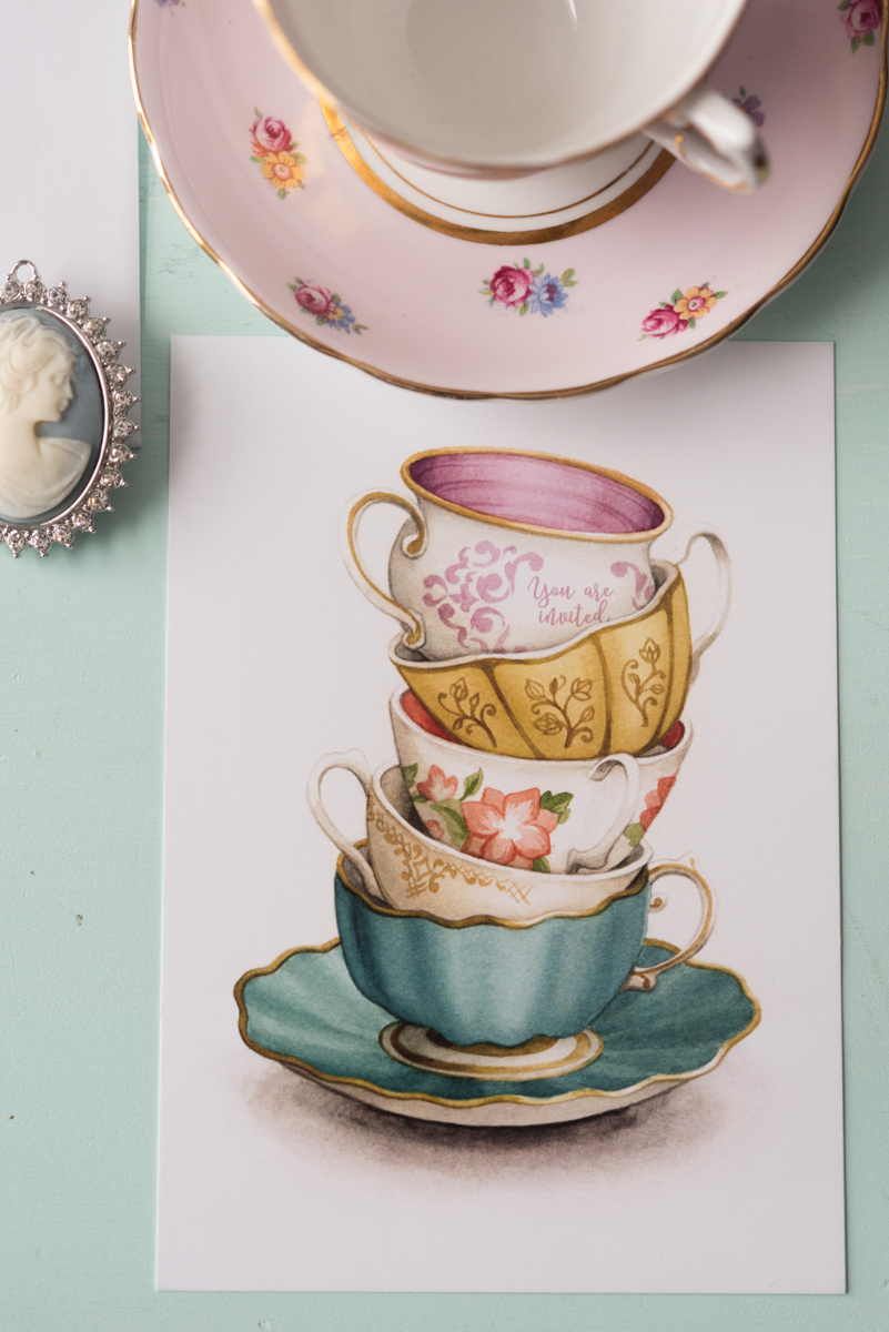 Vintage Tea Party Bridal Shower Invitations and Stationery by Alicia's Infinity - www.aliciasinfinity.com