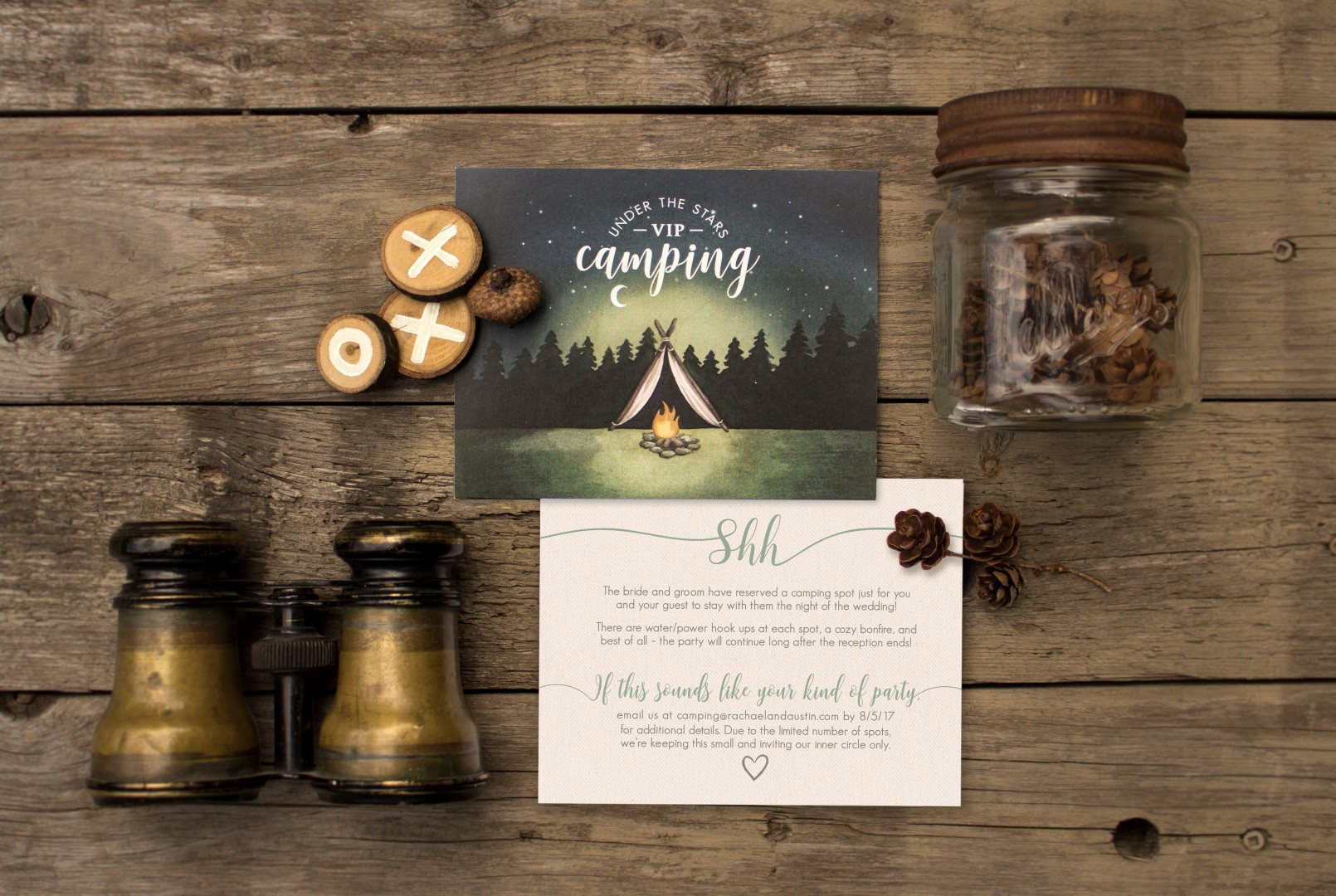 Rustic Wood Floral Wreath and Camping Wedding Invitations by by Alicia's Infinity - www.aliciasinfinity.com