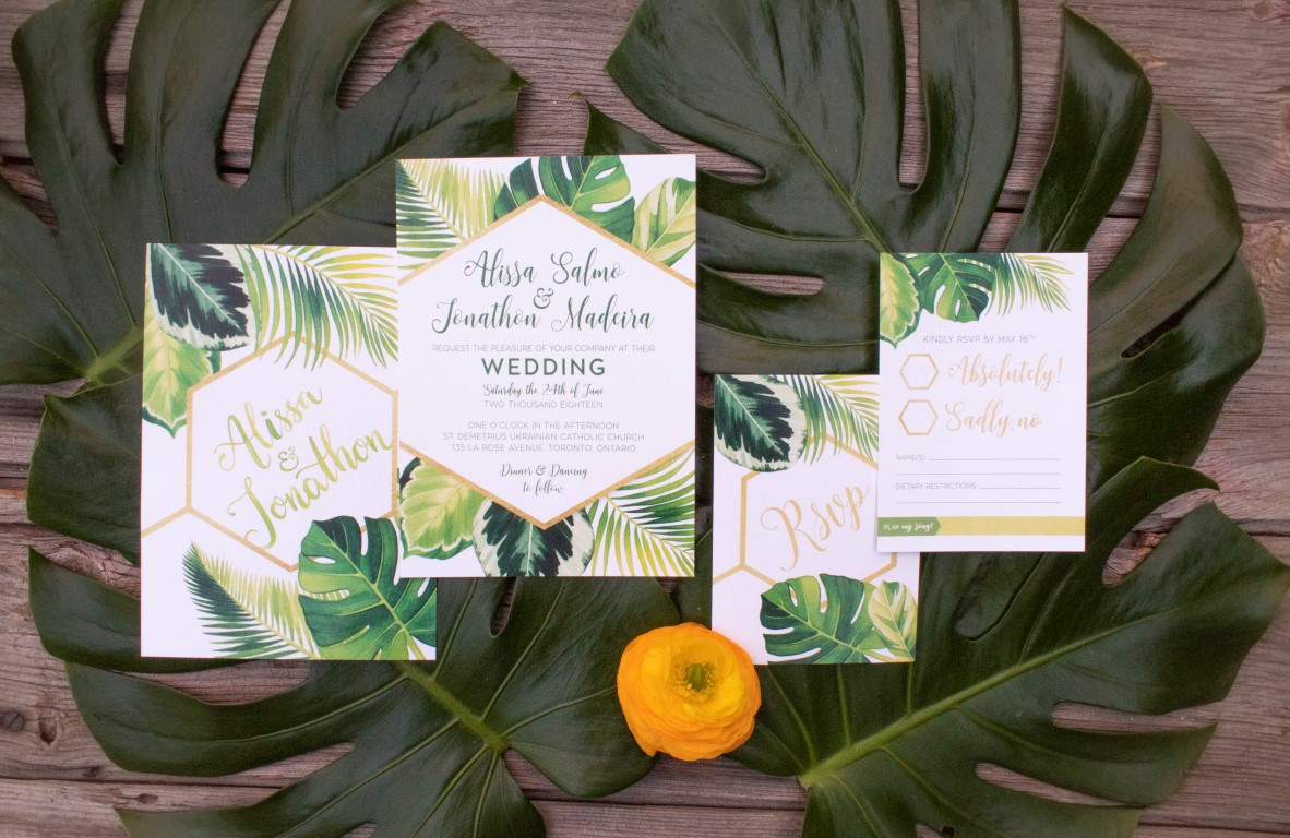 Tropical Palm and Monstera Leaves Watercolour Wedding Invitations by by Alicia's Infinity - www.aliciasinfinity.com