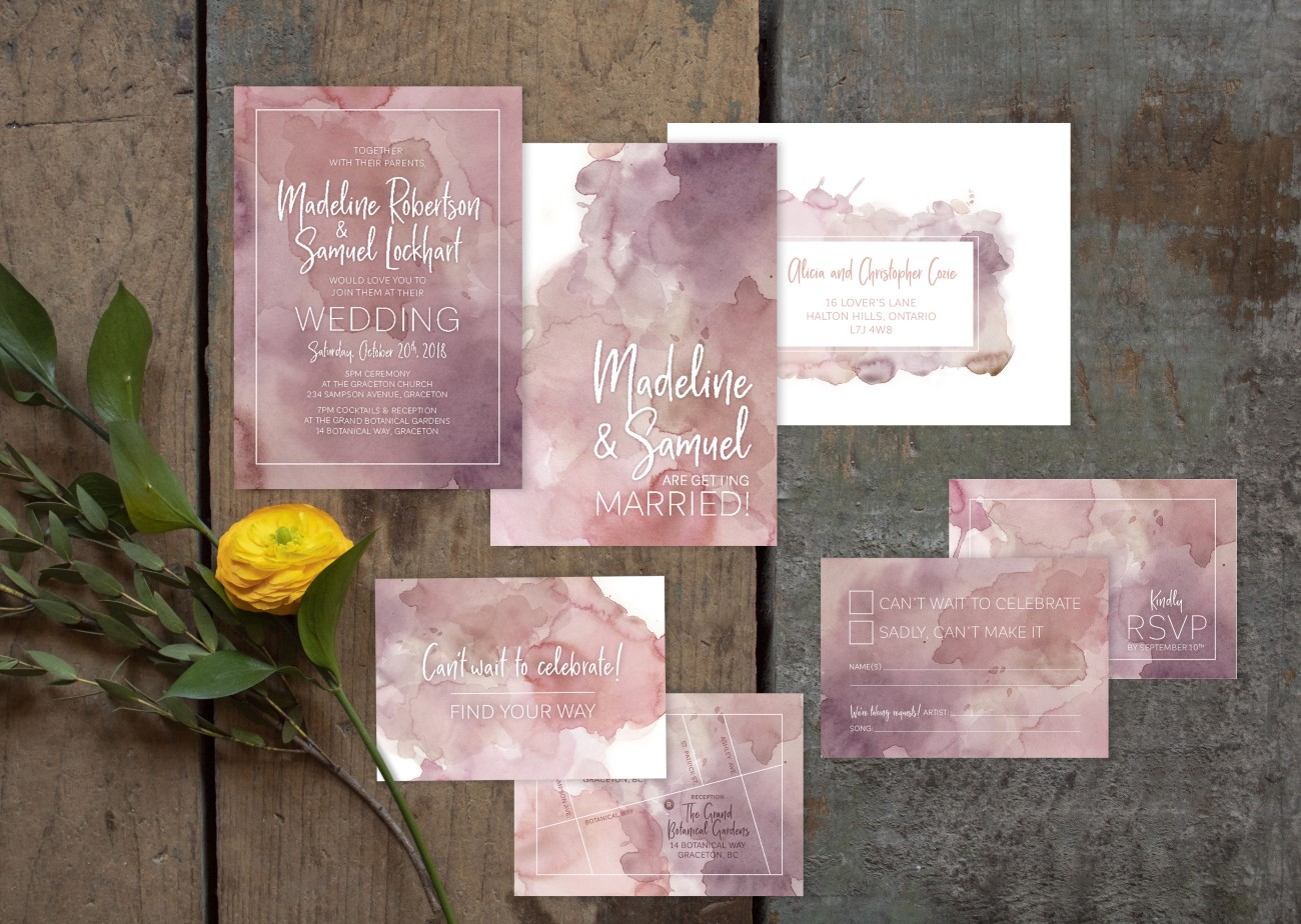 Rectangle Watercolour Wash Wedding Invitations and Stationery by Alicia's Infinity - www.aliciasinfinity.com