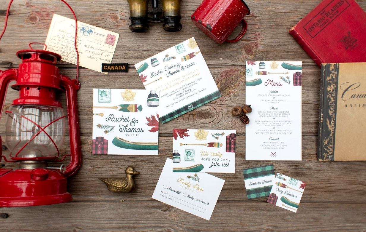 Canadiana Rustic Plaid Watercolour Wedding Invitations by Alicia's Infinity - www.aliciasinfinity.com
