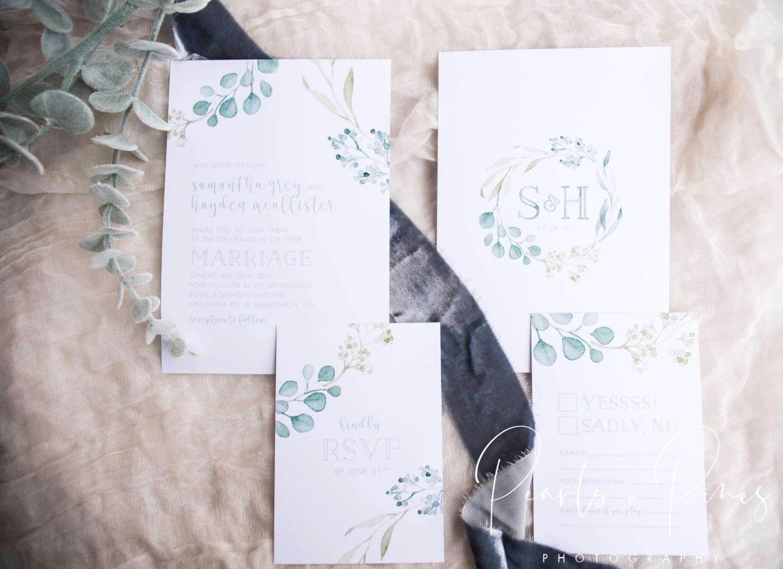 Greenery Wreath Wedding Monogram Wedding Invitations by Alicia's Infinity - www.aliciasinfinity.com