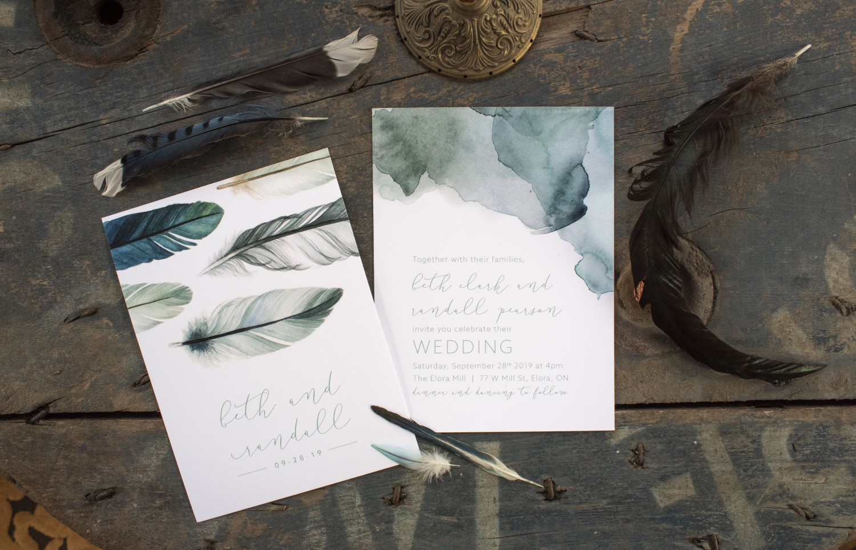 Watercolour Feathers Boho Wedding