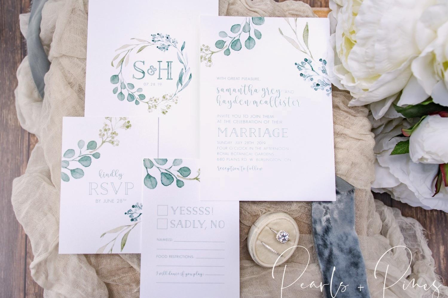 Crest Camryn Watercolor Monogram Wreath Personalized Wedding Suite PRINTED Monogram Greenery Wedding Invitation Greenery Crest