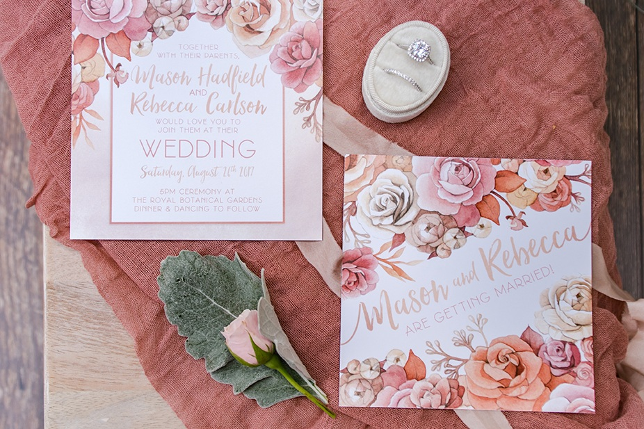 Blush and Coral Rose Gold Watercolour