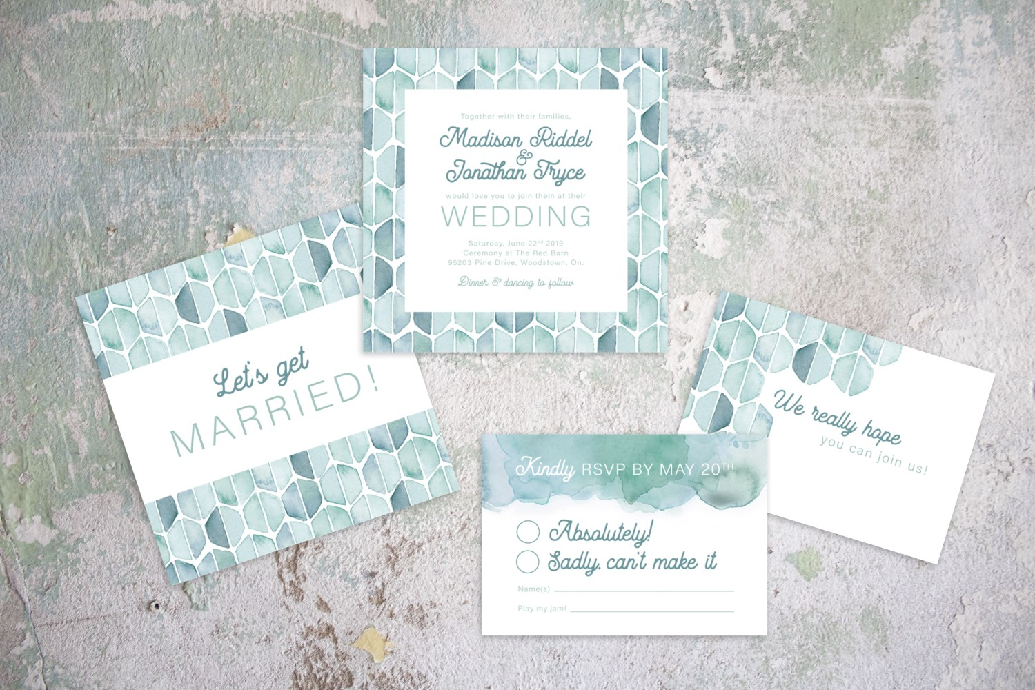 Hexagon Patterned Modern Watercolour Wedding Invitations by Alicia's Infinity