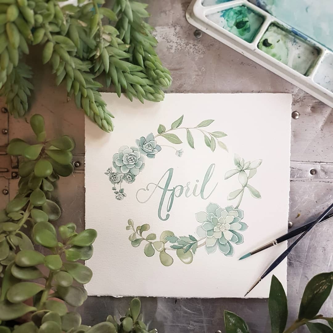 April Monthly Watercolour Illustration - Alicia's Infinity