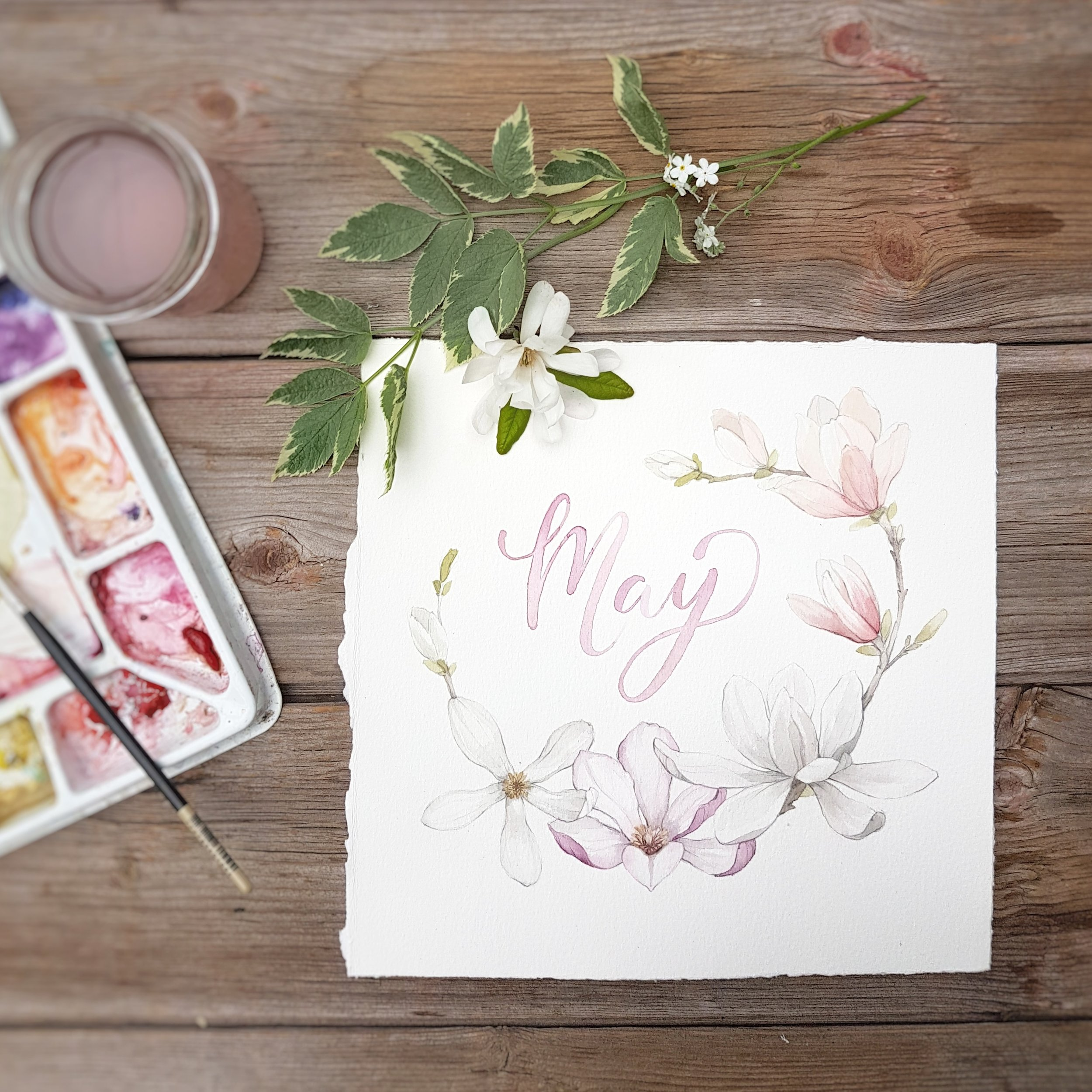 May Floral Watercolour Illustration - Alicia's Infinity