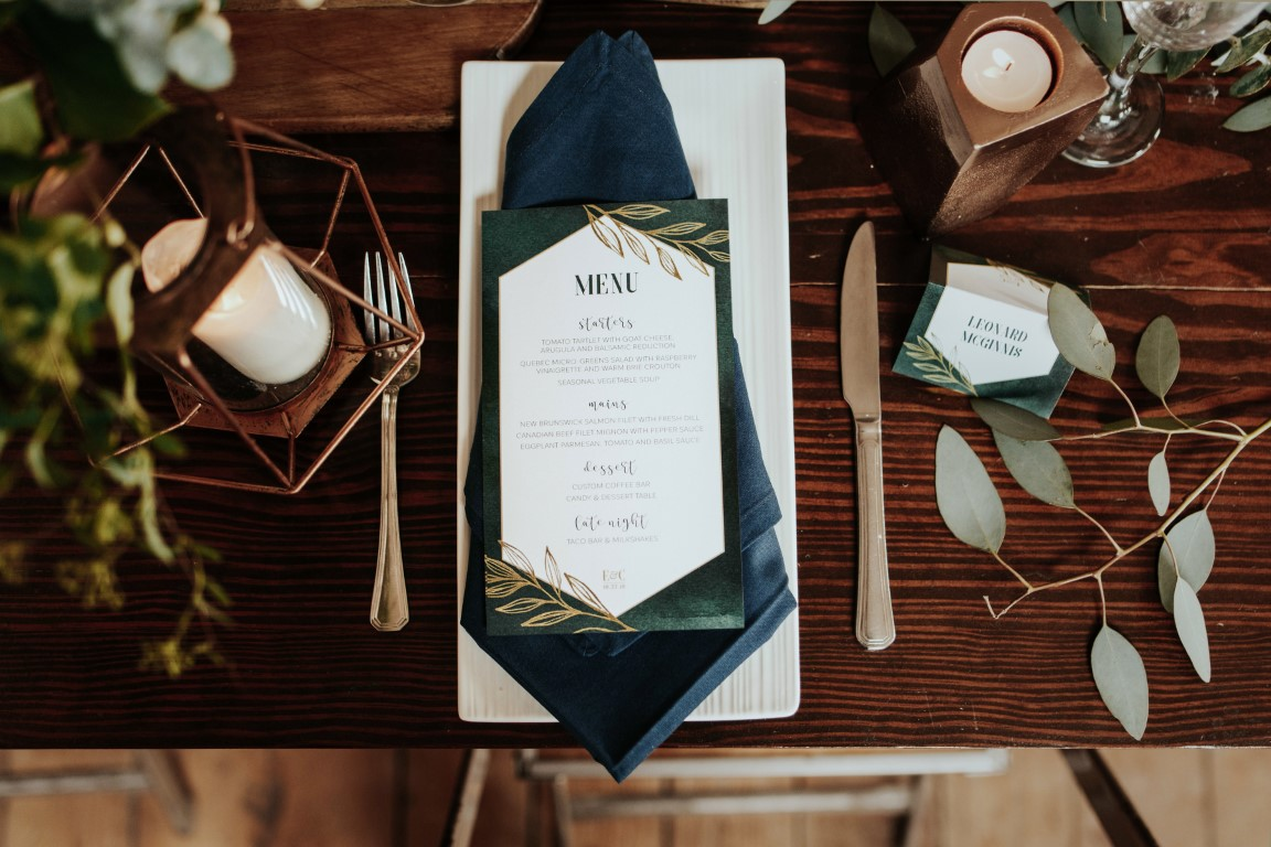Emerald Forest Green Watercolour with Geometric Hexagon and Leaves Wedding Invitations - David Todor Photography (15) (Medium).jpg