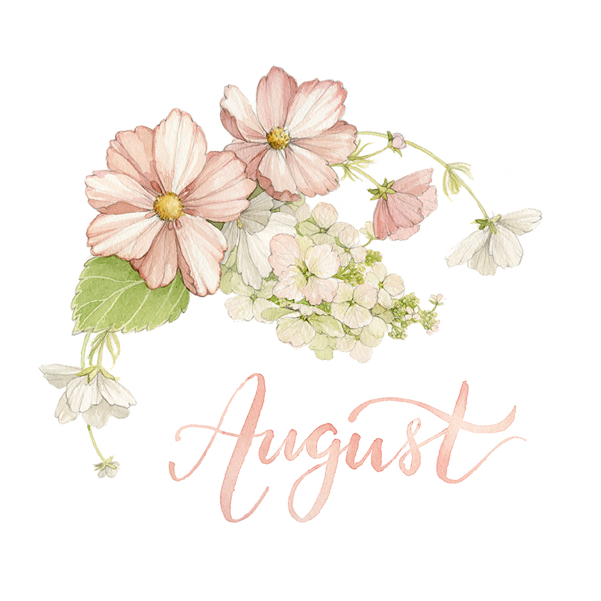 August Monthly Watercolour Floral Wreath Illustration