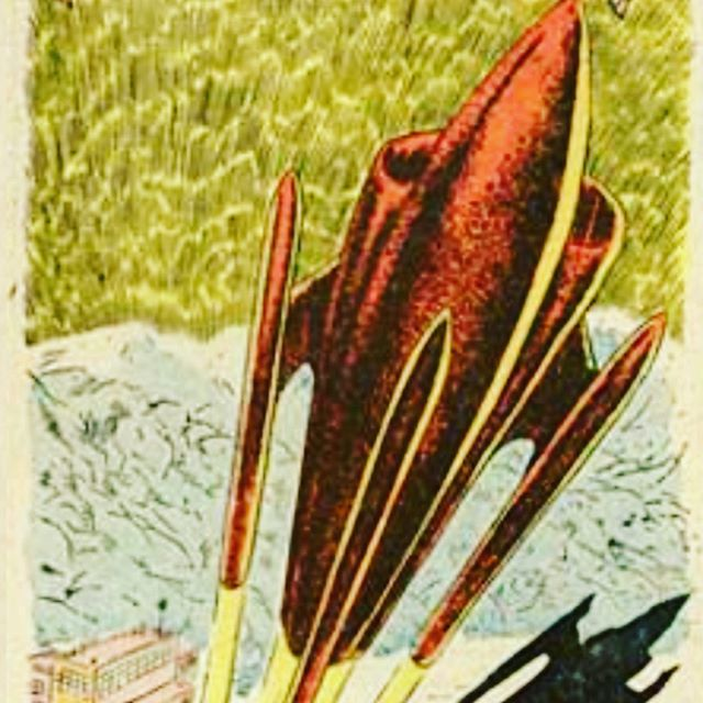 """Canvases & T-shirts with this print coming soon. From 1952 comic book """"Adventures into the unknown"""" by Ken Landau"""