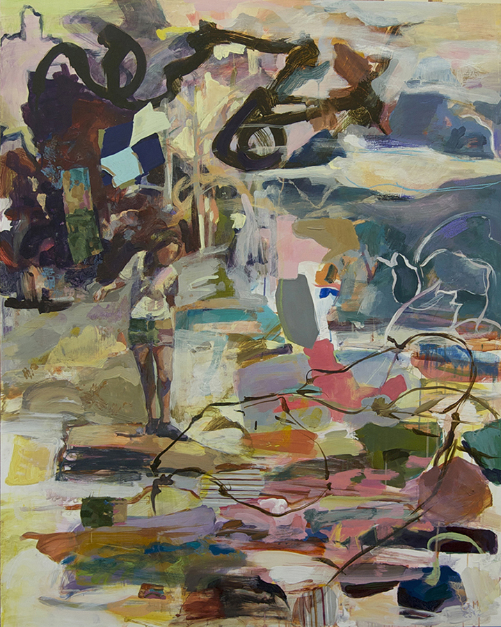 Stones in the Water    2012  acrylic, wax pastel on gatorboard  48 x 38 1/4 in.