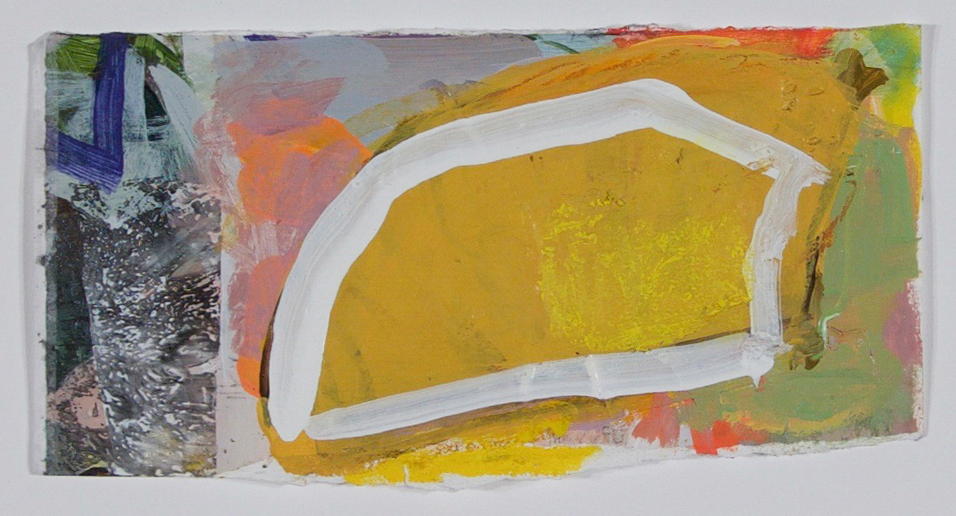 Yellow Wood    2018  acrylic, graphite, collage on paper  4 1/2 x 8 1/2 in. (irregular)