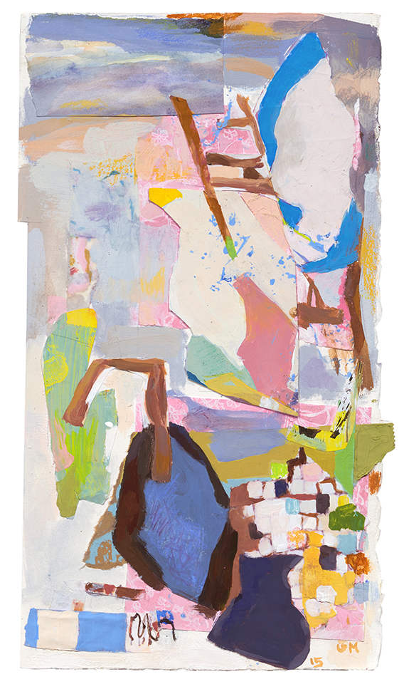 Stairs    2015  acrylic, collage, mixed media on paper  16 1/4 x 9 in. (irregular)