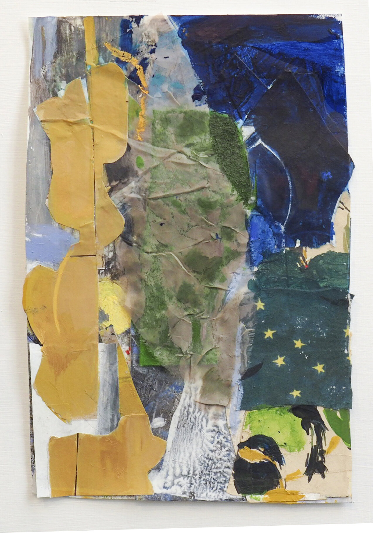 """Perseid-August 12  2019  acrylic, collaged paper and fabric   10 7/8""""  x 7  1/4in."""