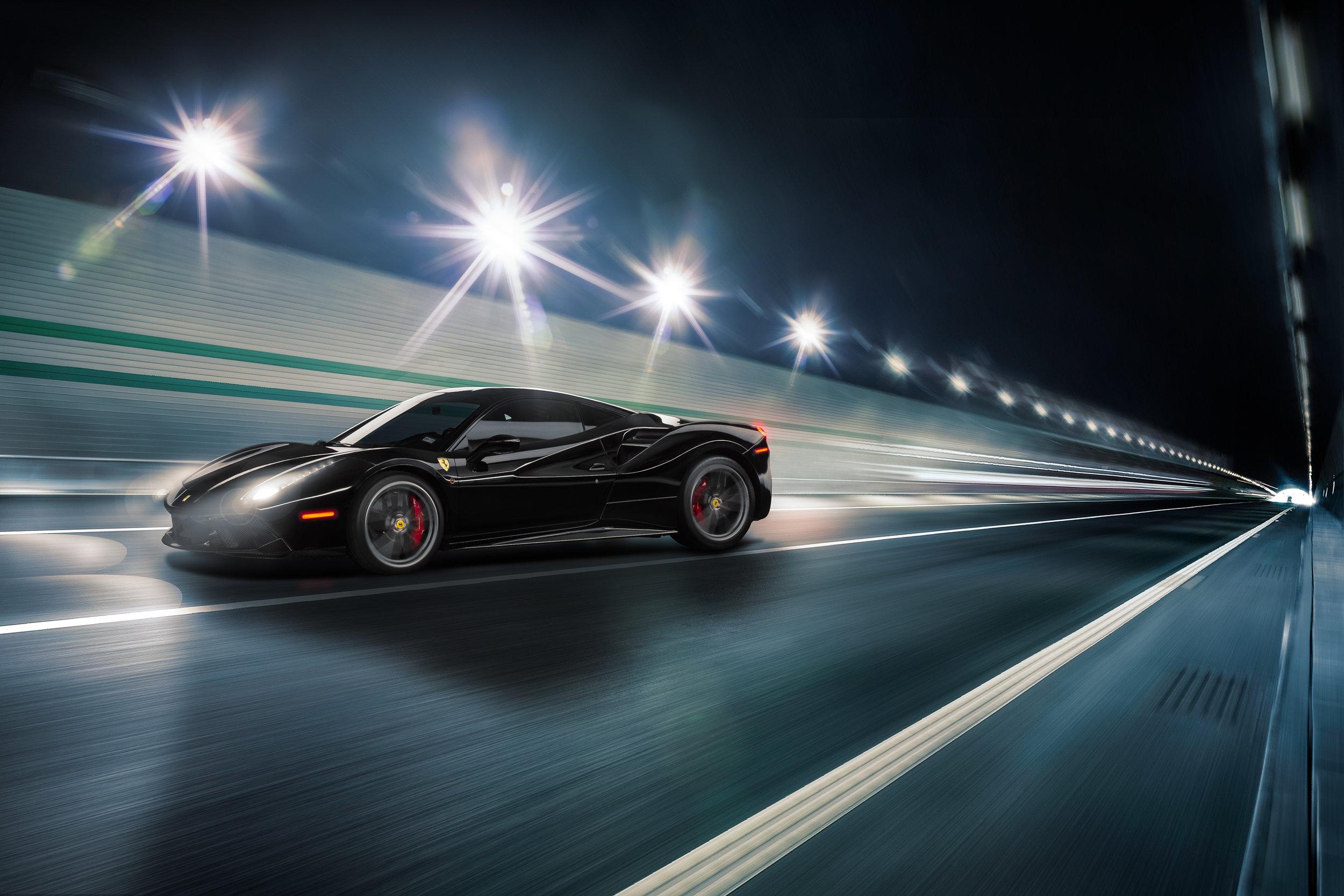 Ferrari 488 GTB Nero Daytona Speeding by Automotive Photographer Albert Polanco