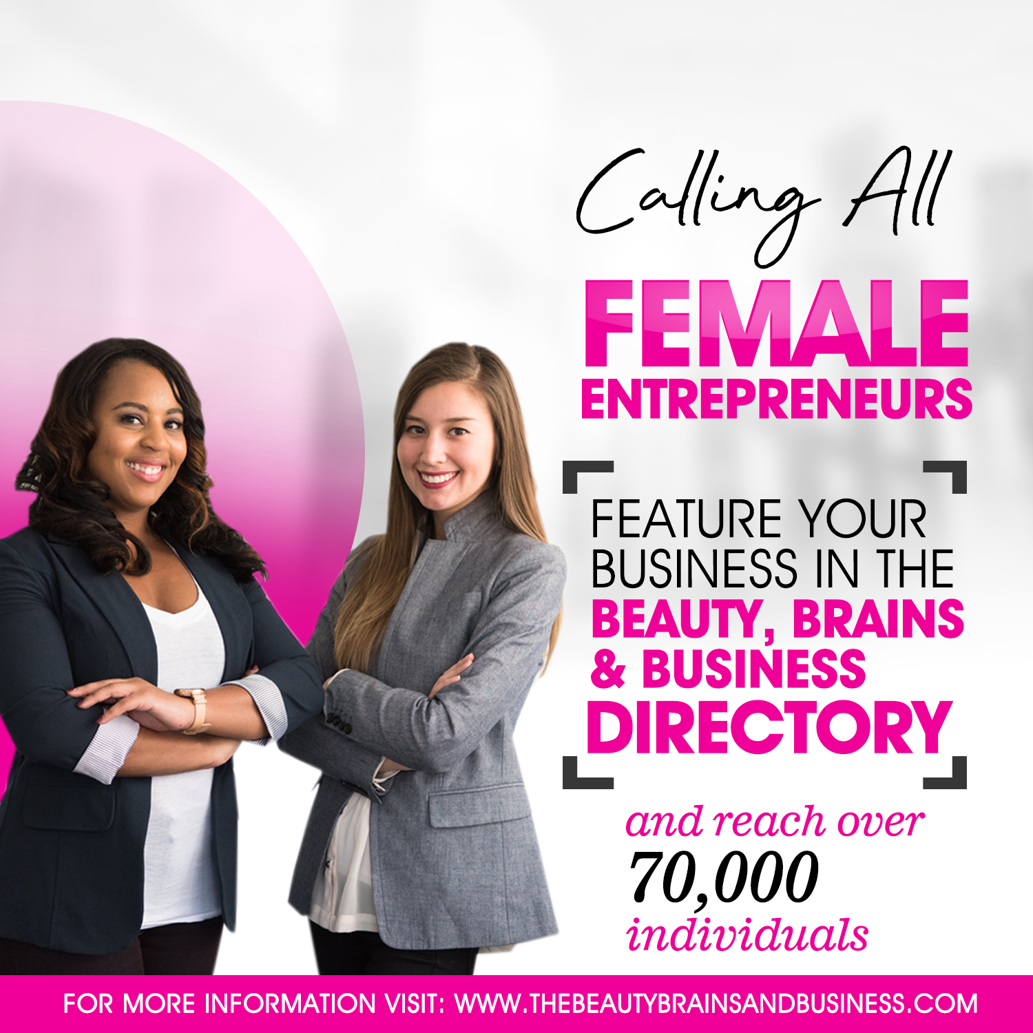 Join the Beauty, Brains & Business Network and become one of the first female entrepreneurs to be featured on our online directory this coming September! Click the link below for details about membership!