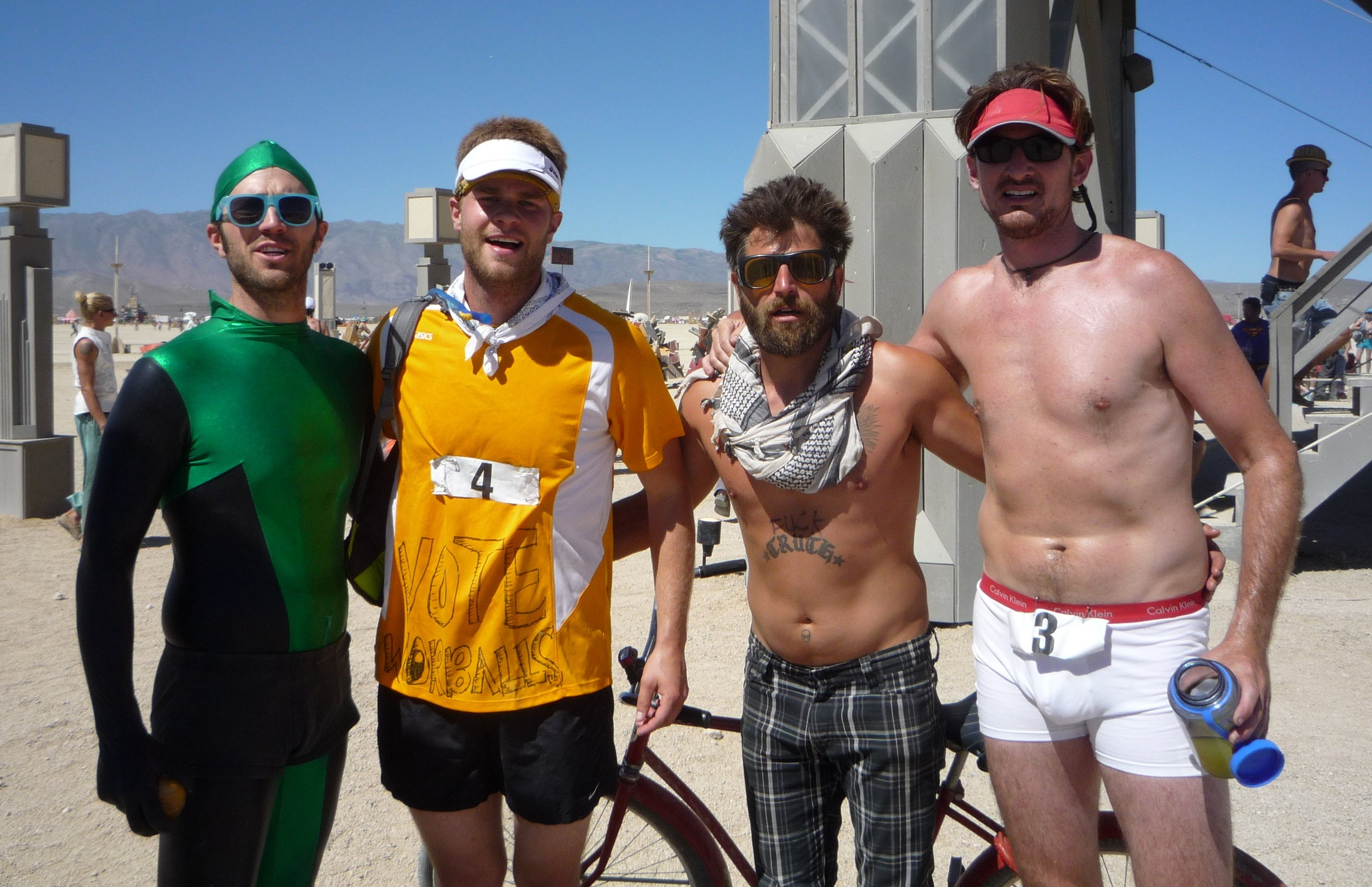 Author John Budge (2nd from left) at the finish of the 2010 Burning Man 50k  (Photo: Ciara Griffin)