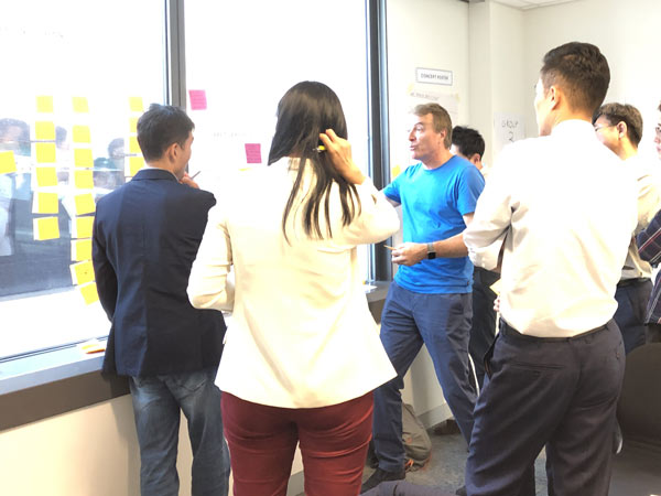 Executives brainstorming together
