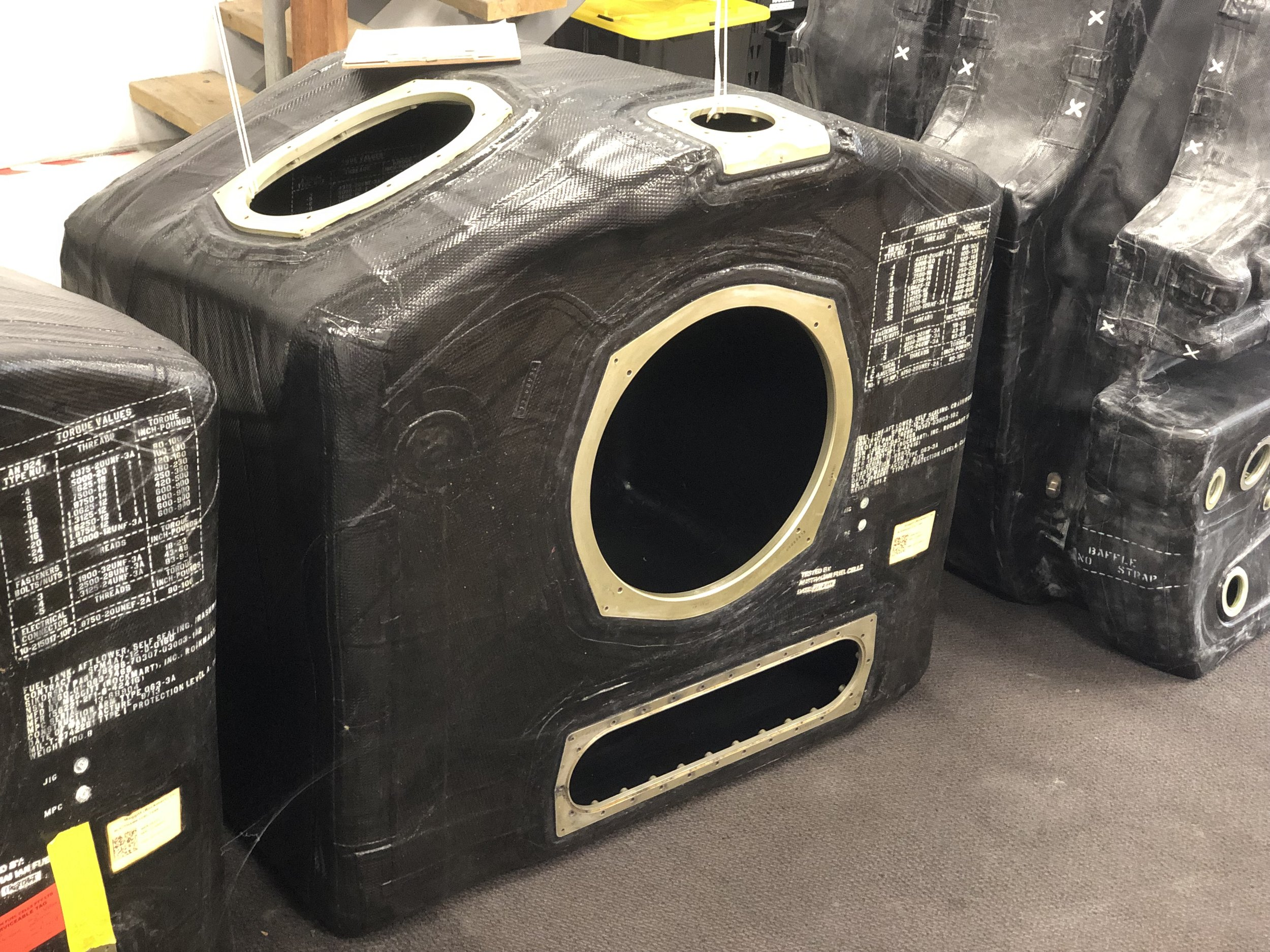 UH-60 Blackhawk helicopter fuel cell removed from AFC storage for scheduled maintenance activities.