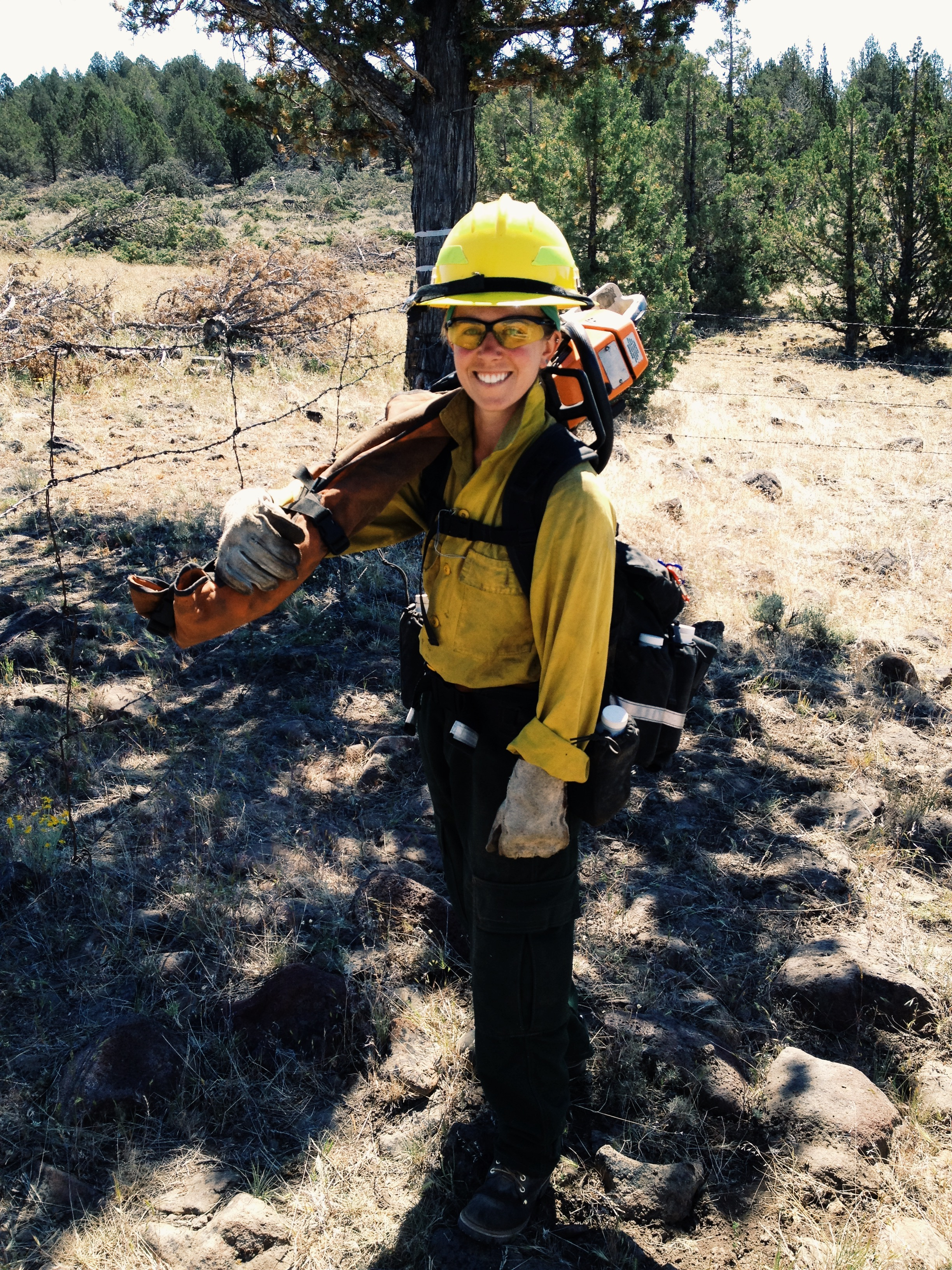 Here I am on my first day of chainsaw training about two weeks into starting my first wildland fire job in California. I was exhilarated but scared to death about trying to operate a saw. I look like a goober.