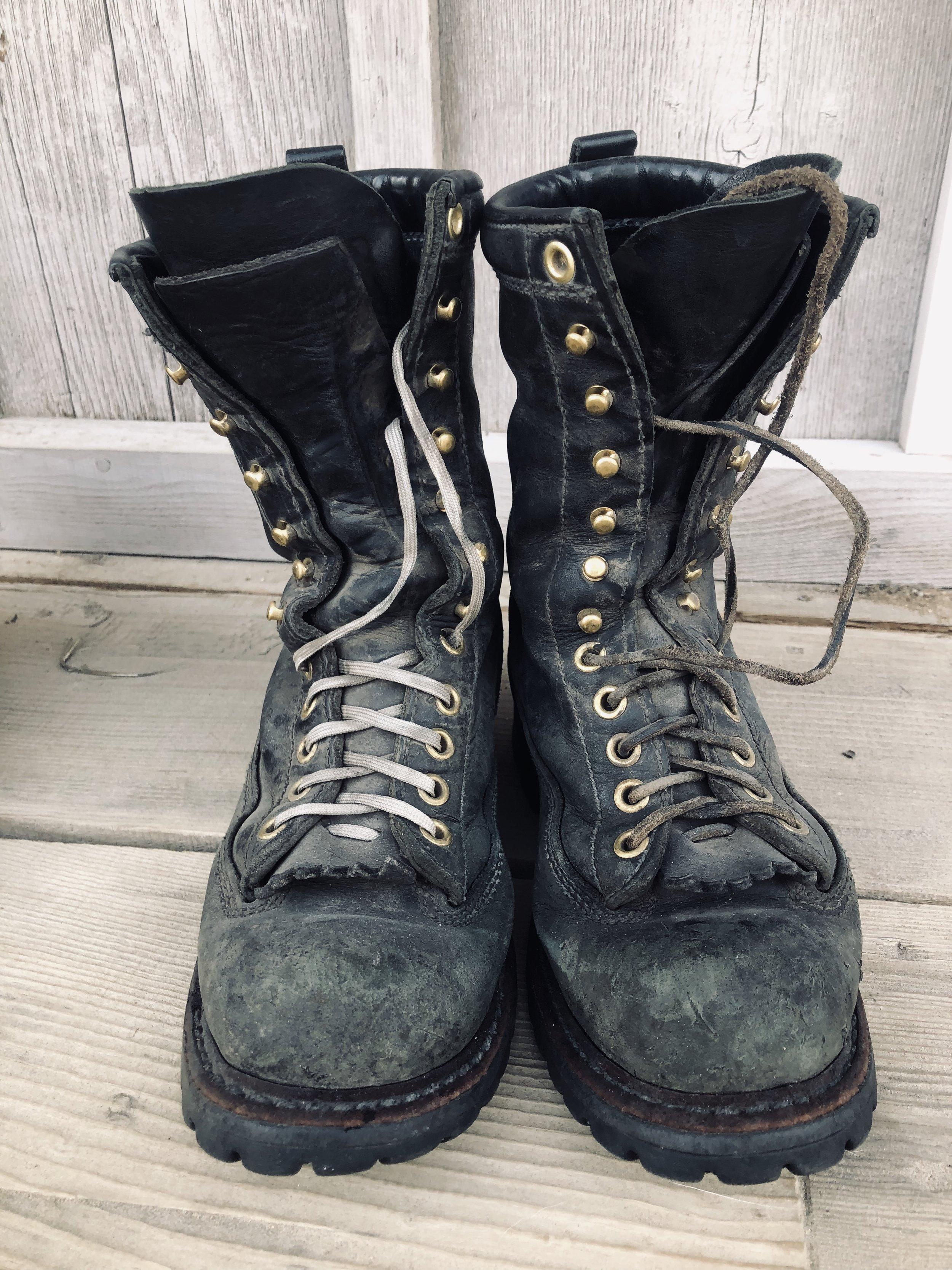 My White's Hathorn Explorers. Parachute cord makes excellent shoe laces when the original leather ones snap.