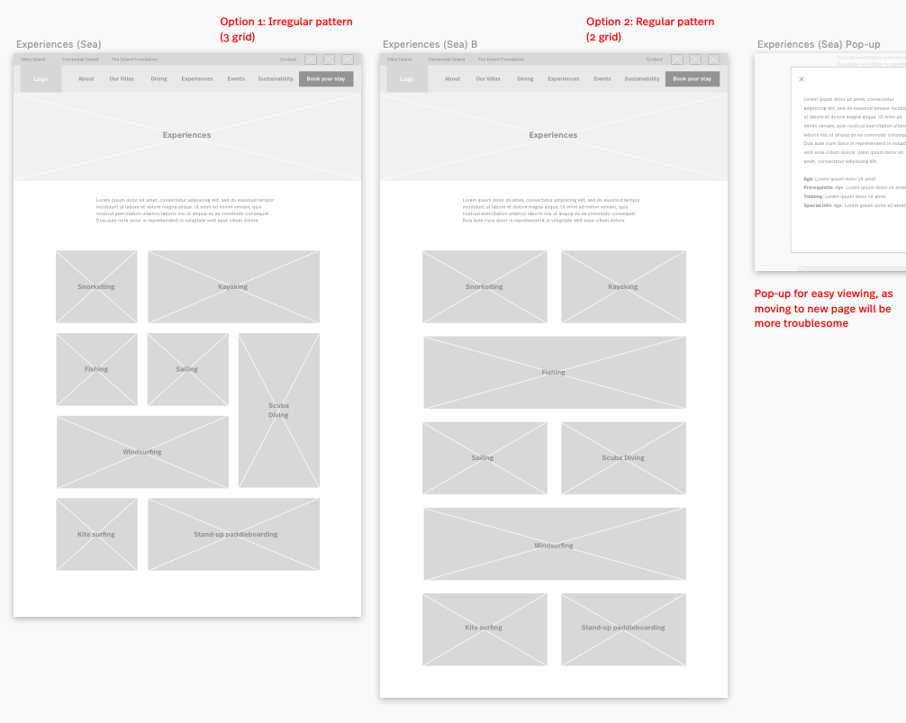'Sea experiences' wireframe