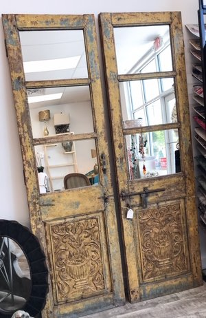 Antique Doors With Mirrored Glass Original Hardware La Bella Vita Interiors