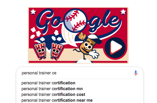 Image is GOOGLE page with Personal Trainer typed in