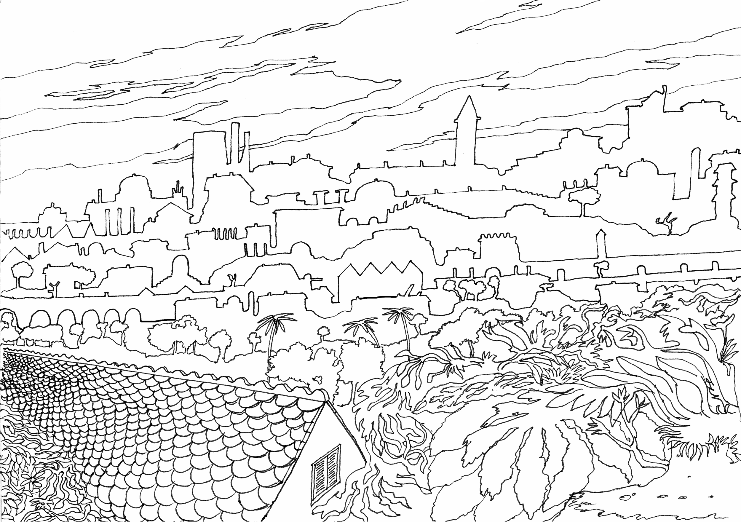 Doodle town with foreground