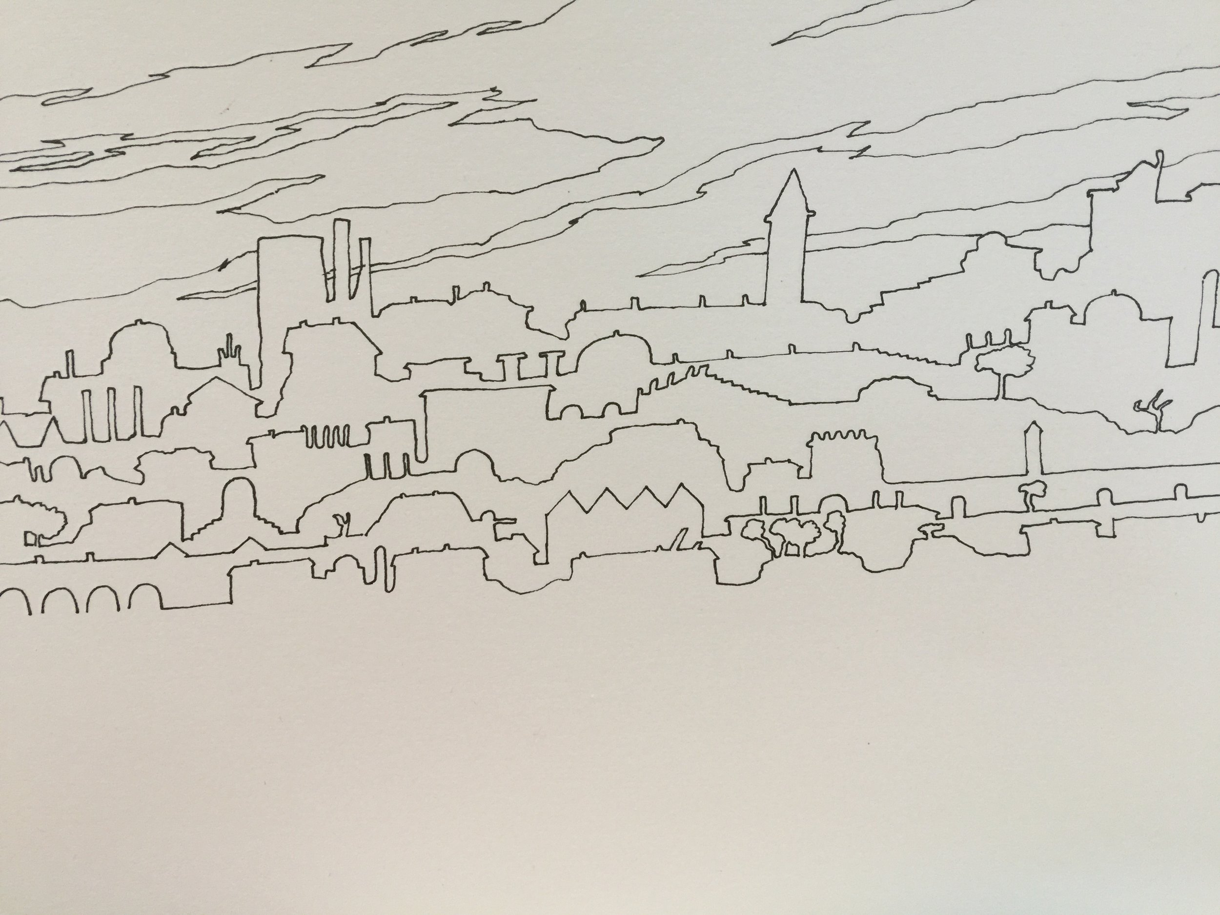 Doodle town with no foreground