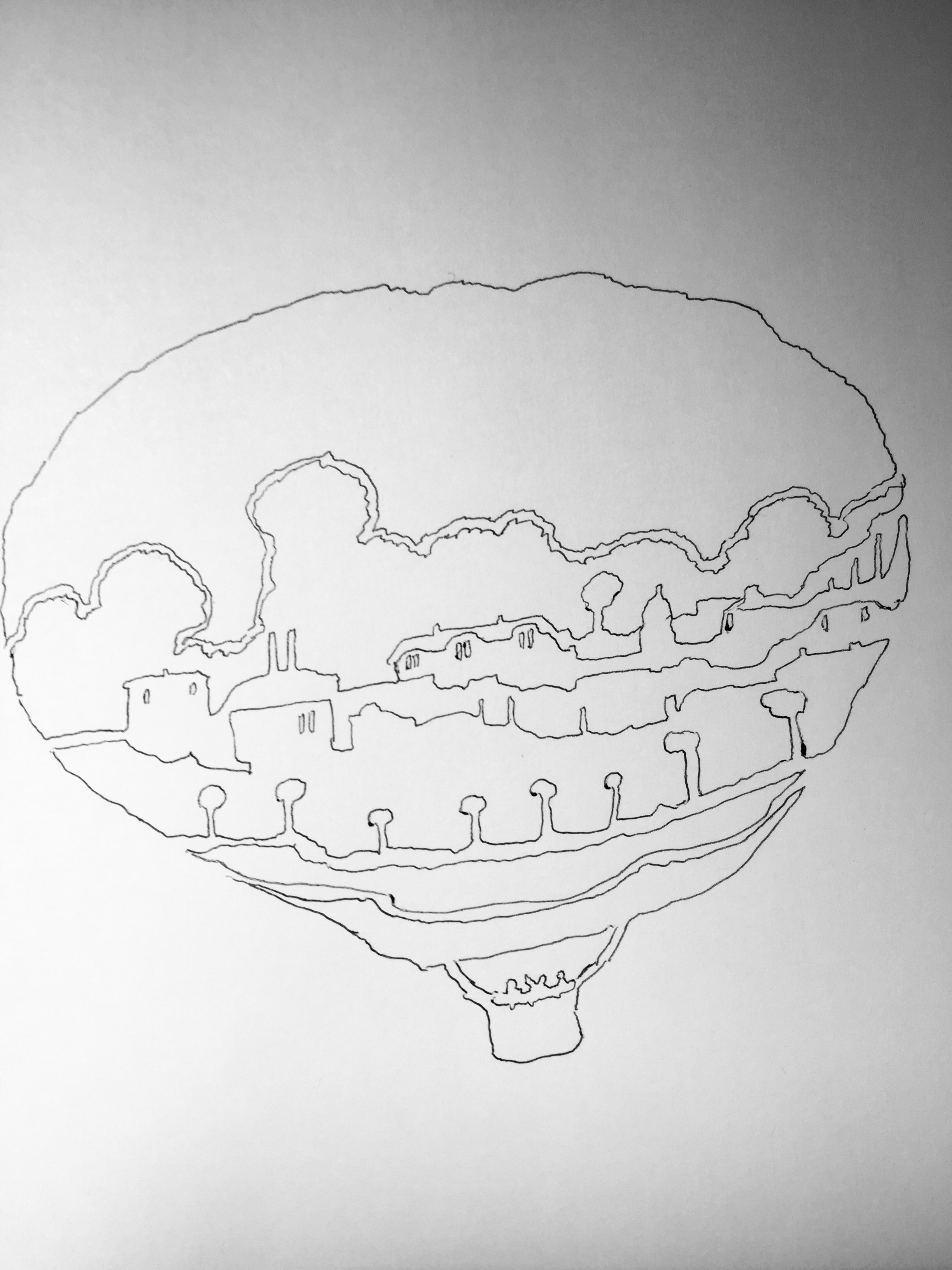 Balloon with world (monochrome)