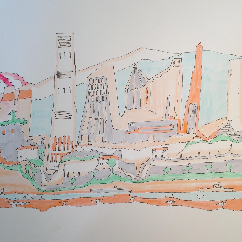 Wonky modern town (colour)