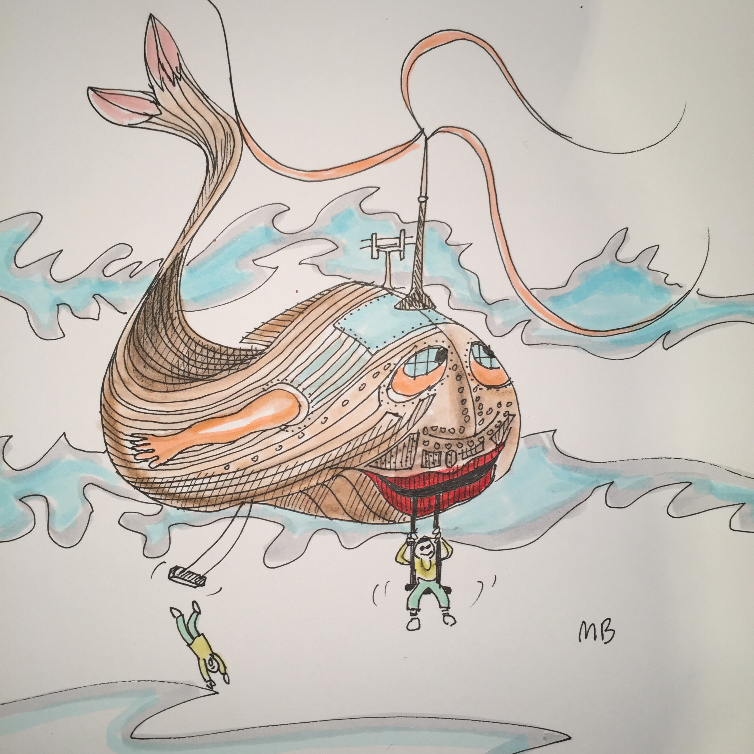 Flying boojum boat doodle with two blokes