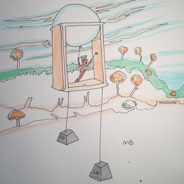 Fairy in balloon powered sight-seeing machine