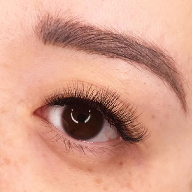 Swipe for before. My client went from sparse and damaged to full volume lashes. If you want to safely get your lashes thicker and fuller, then come see me 😊!!